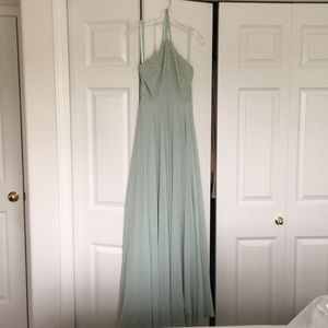 Mint color maxi dress.